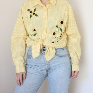 Vintage Sunflower Button Down Top